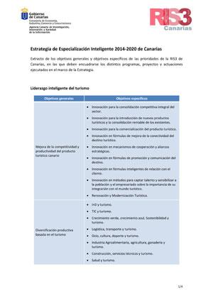 Objetivos generales y específicos de las prioridades de la RIS3 de Canarias