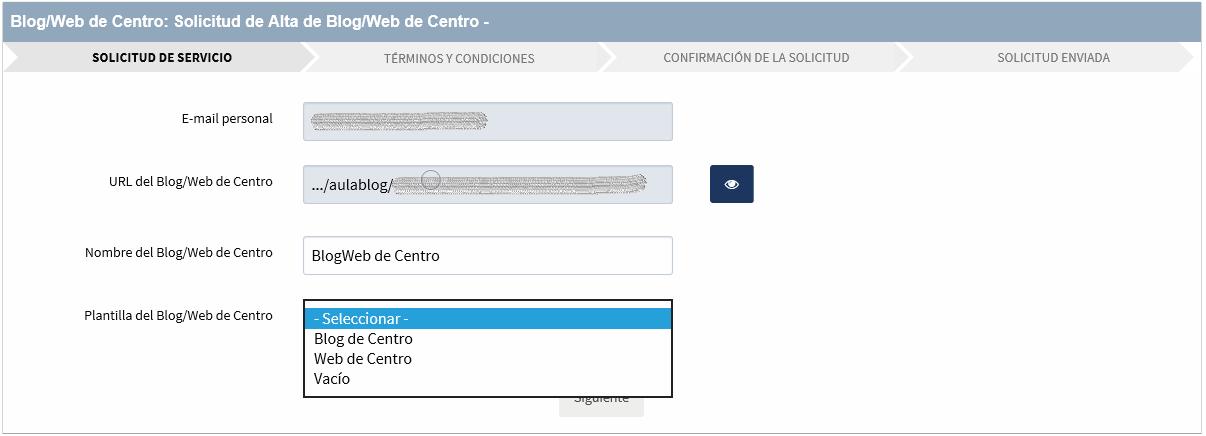 Solicitud de Alta de Blog/Web de Centro