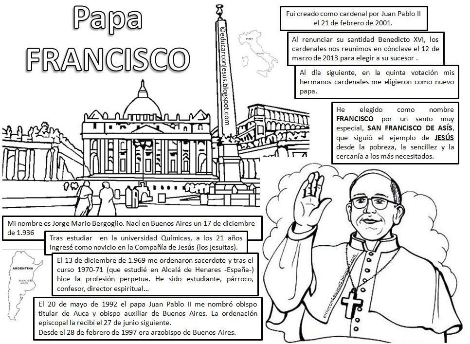 Papa Francisco para colorear | Blog de los Recursos de JESUS MARIA