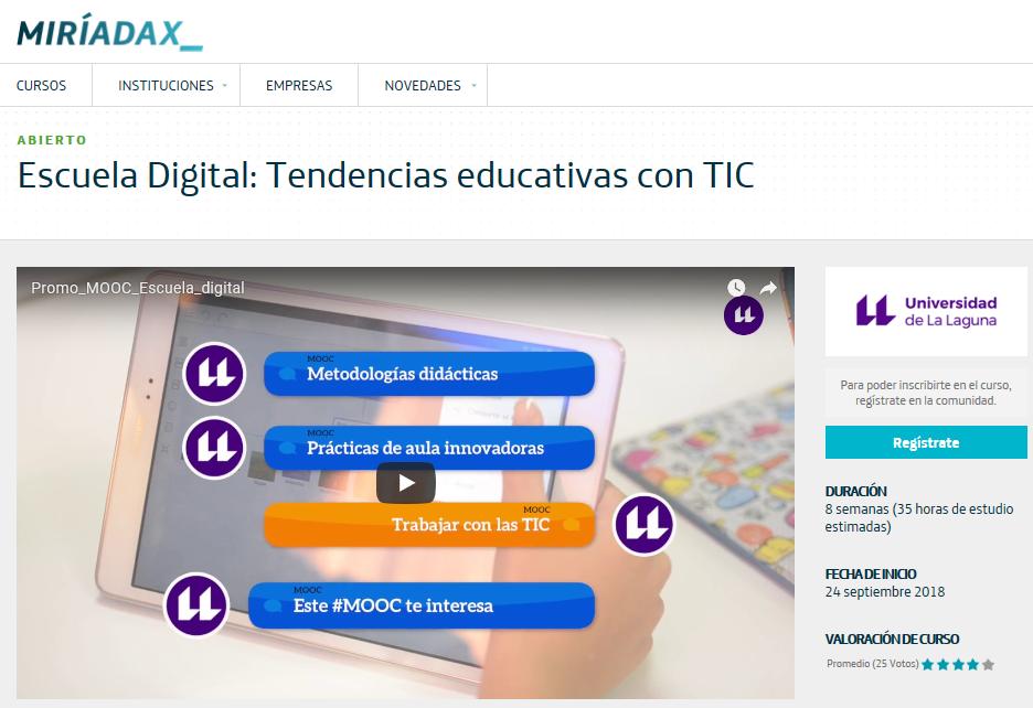 MOOC Escuela Digital: Tendencias educativas con TIC