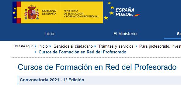 1ª edición de la convocatoria de cursos tutorizados en línea del INTEF