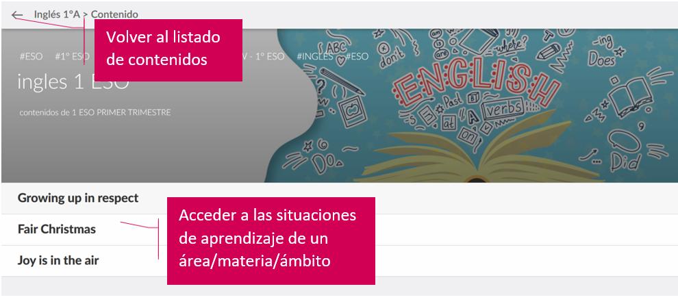 Imagen del acceso a las situaciones de aprendizaje