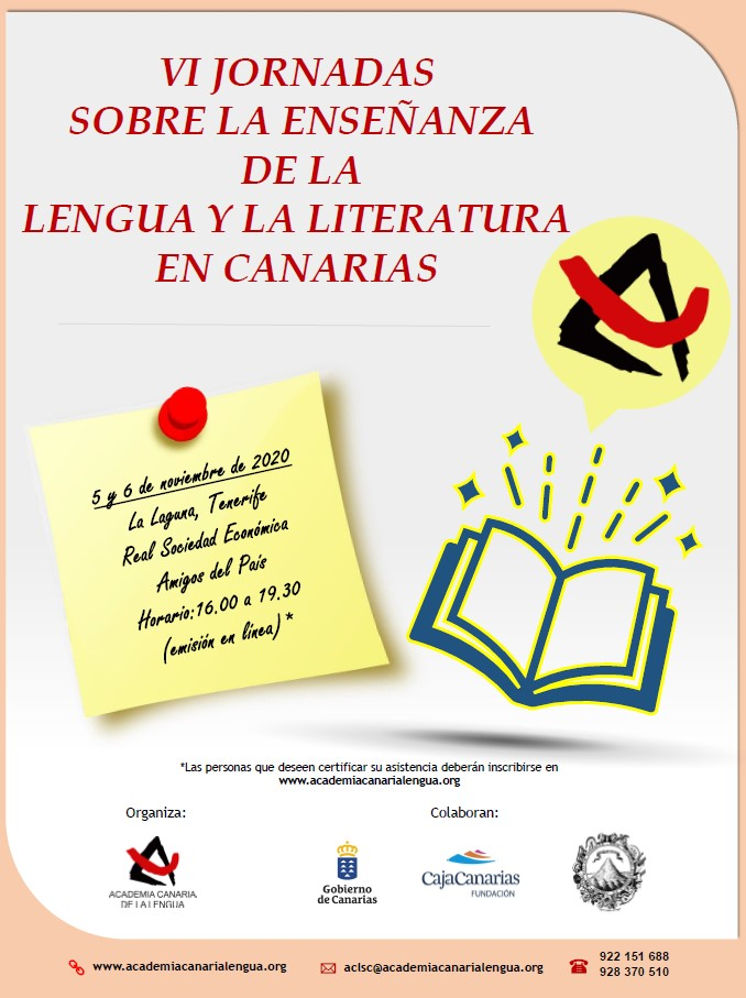 VI JORNADAS SOBRE LA ENSEÑANZA DE LA LENGUA Y LA LITERATURA EN CANARIAS