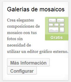 """Hacer clic en el botón """"configurar"""" del plugin """"Galerias de mosaicos"""" de JetPack"""