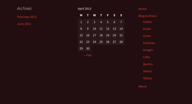 Ejemplo de pie de página de visualización de widgets.