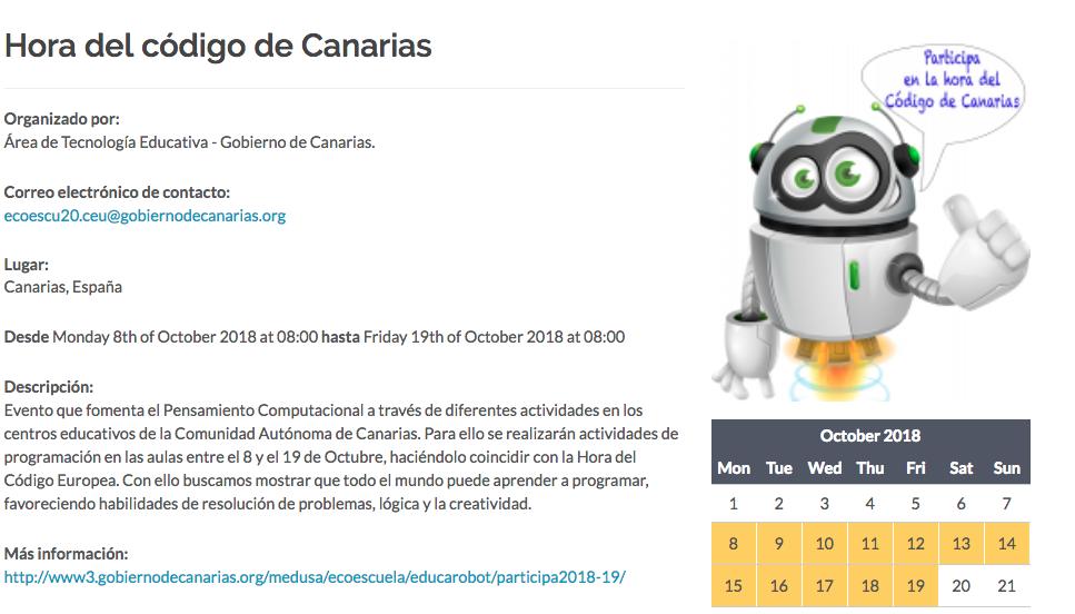 La Hora del Código de Canarias 2018-19