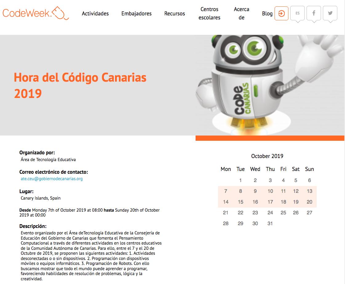La Hora del Código de Canarias 2019-20