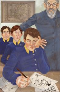 El estudiante Benito Pérez descubierto dibujando durante la hora de estudio en el Colegio San Agustín.