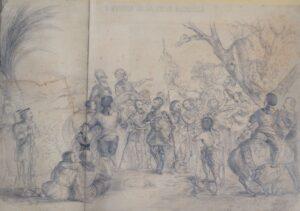 Historia de la Gran Canaria. Lápiz sobre papel. Accésit en la Exposición de Bellas Artes de 1862. Familia Pérez Galdós.
