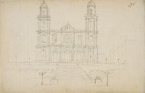 Catedral de Las Palmas. Dibujo incluido en el Álbum arquitectónico (1890-1895). Casa-Museo Pérez Galdós.