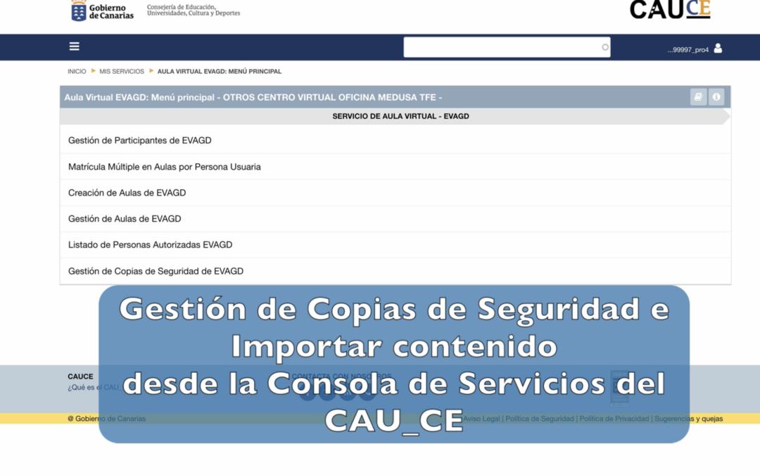 Gestión de copias de seguridad e importación de contenidos