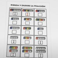 Dibuja y escribe fracciones