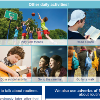 Daily routines (adverbs, connectors, prepositions and vocabulary)