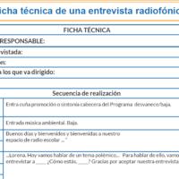 Ficha técnica de una entrevista radiofónica