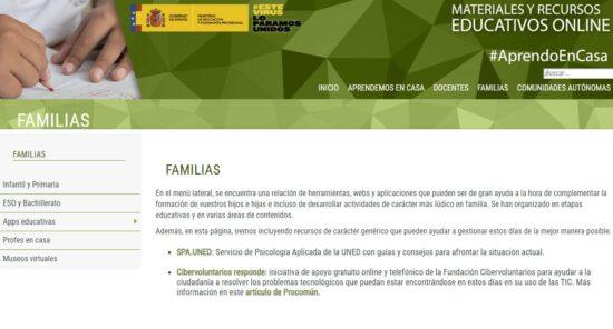Materiales y recursos educativos online para familias