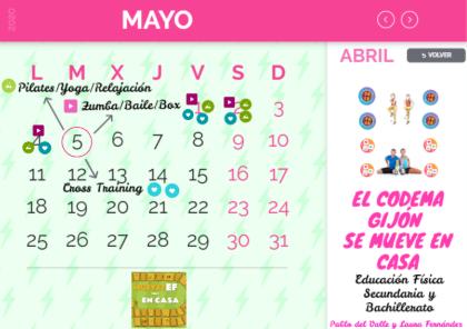 Calendario de actividades de educación física