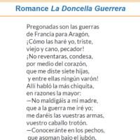 La Doncella Guerrera. Romance y actividades
