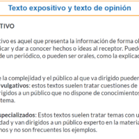 Texto expositivo y texto de opinión