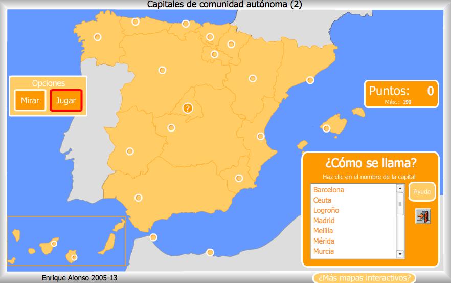 Mapa Interactivo De España Politico.Capitales De Comunidades Autonomas Mapa Interactivo