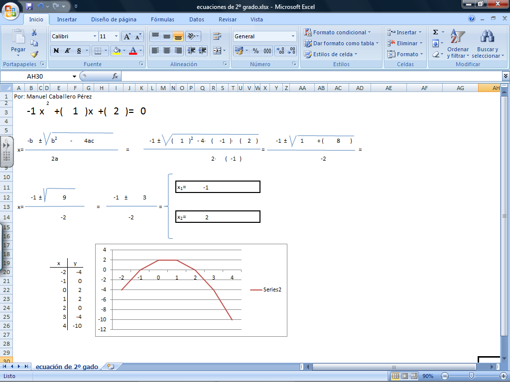 ecuaciones de segundo grado con hoja de cálculo » Recursos ...