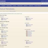 Pearson Festivals Website