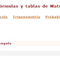 Fórmulas y tablas de matemáticas.
