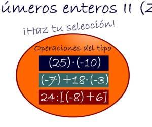 Operaciones con números enteros II