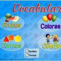 Vocabulario de frutas, colores, formas y cuerpo