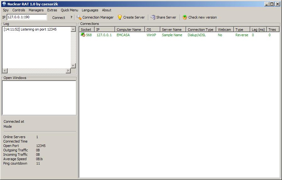 Captura de pantalla del troyano Nuclear RAT.