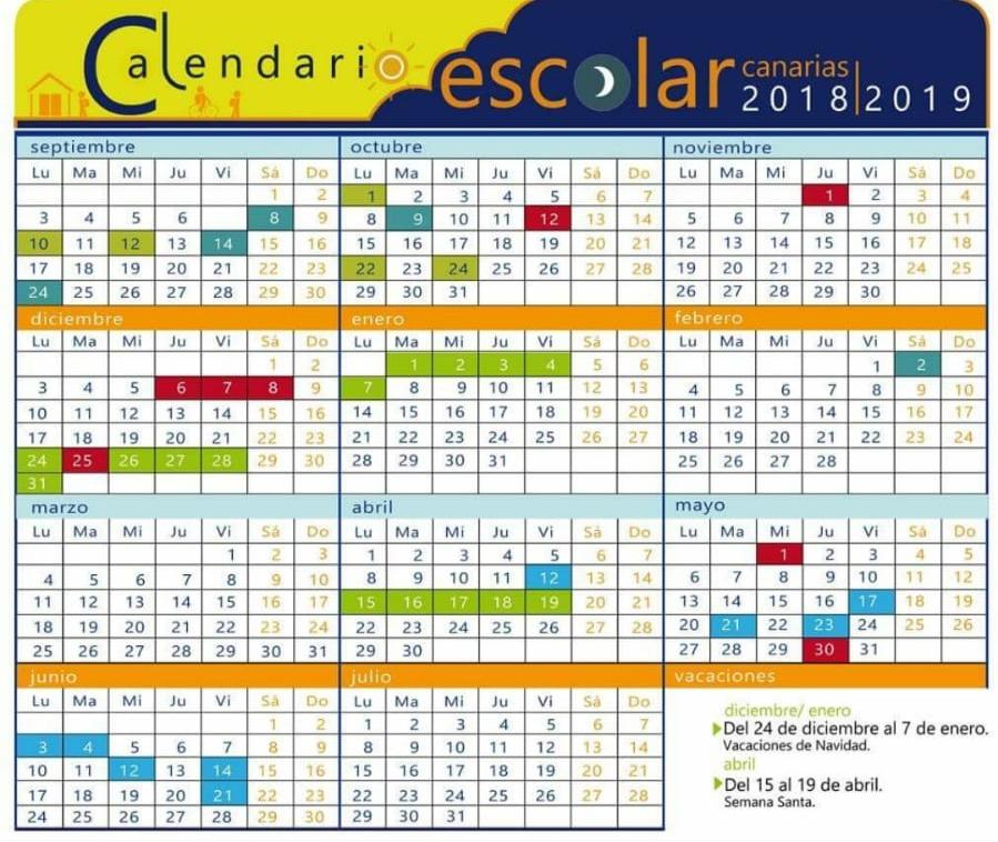 Calendario Escolar 1819.Calendario Escolar Curso 18 19 Ceip Granadilla De Abona