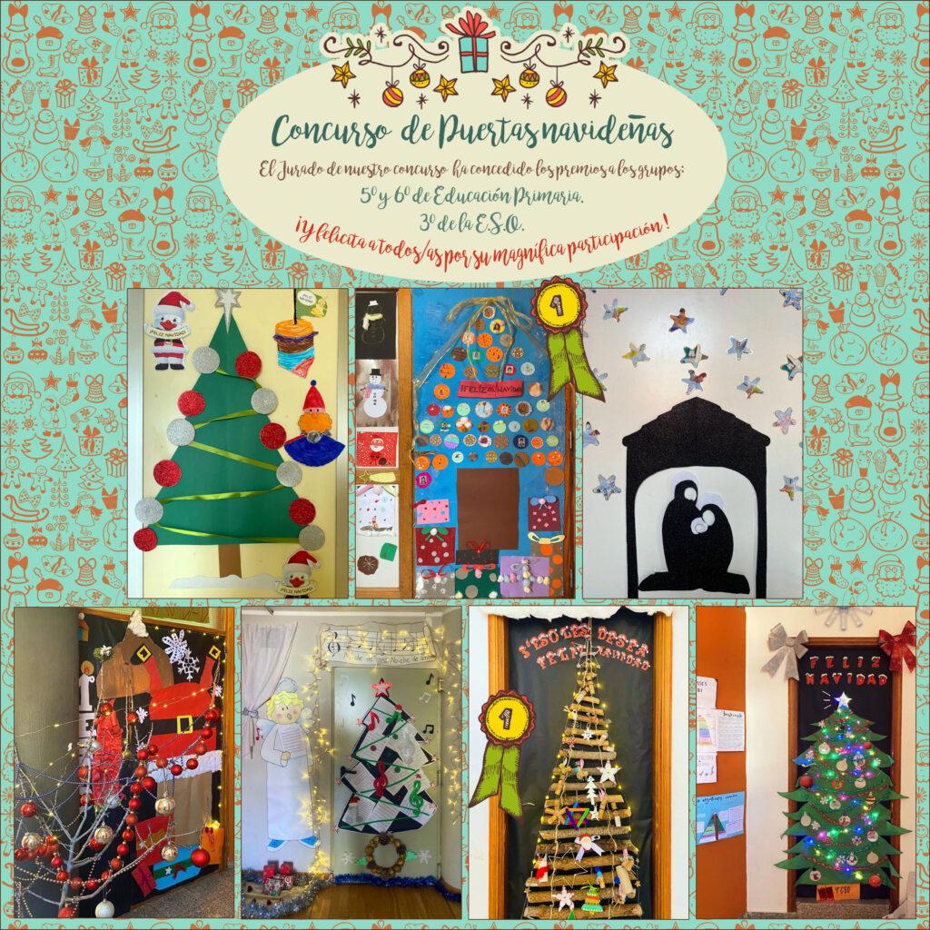 Puertas con decoración navideña de las clases del Colegio. cada puerta tiene motivos de navidad y se han incorporado elementos de reciclaje-
