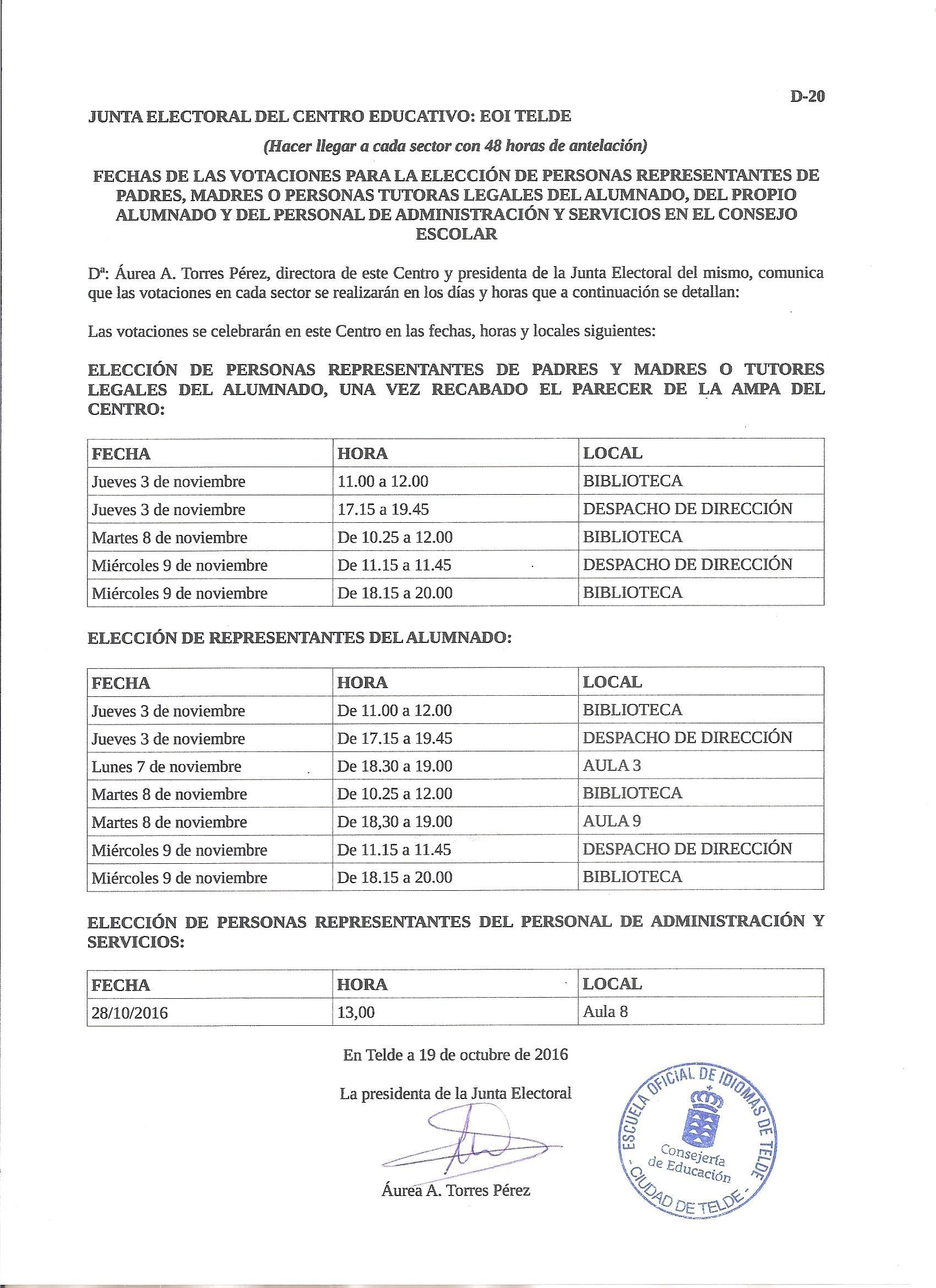 Fechas De Las Votaciones Consejo Escolar Escuela Oficial De Idiomas De Telde