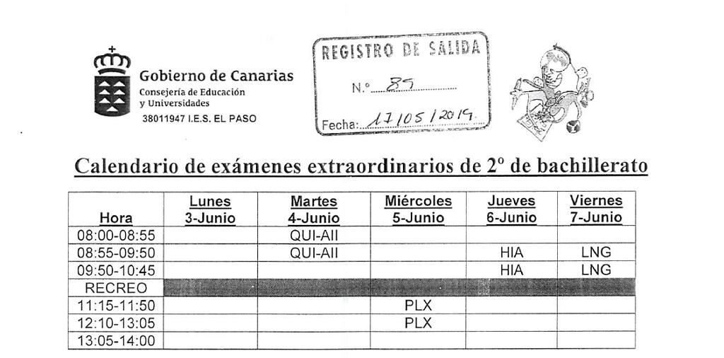 Calendario De Examenes.Calendario De Examenes Extraordinarios 2º Bachillerato Y 1º Fpb