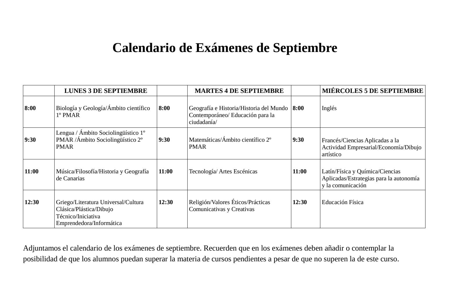 Calendario Dibujo Png.Calendario De Examenes De Septiembre Ies El Rincon