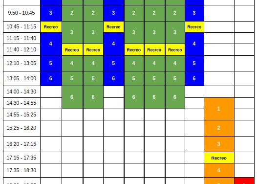 Horario lectivo semanal del curso 2020/21