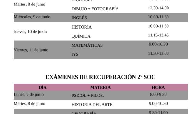 Calendario de exámenes de recuperación de 2º de Bachillerato