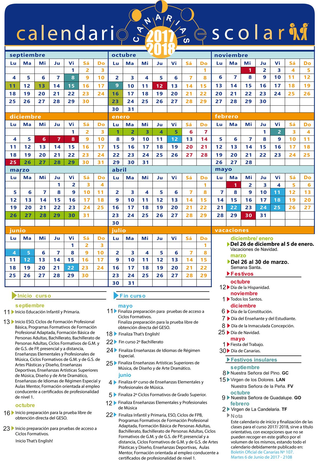 Calendario Escolar 2017 2018 Por La Secretaria