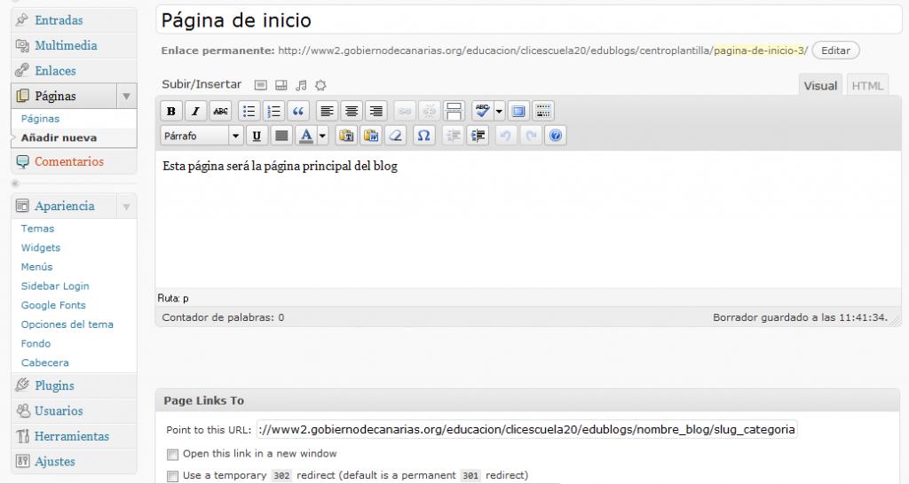 Crear página inicial