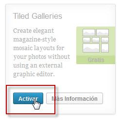 "Activar el plugin ""Tiled Galeries"""
