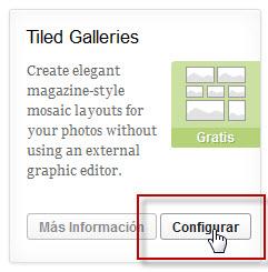 """Hacer clic en el botón """"configurar"""" del plugin """"Tiled Galleries"""" de JetPack"""