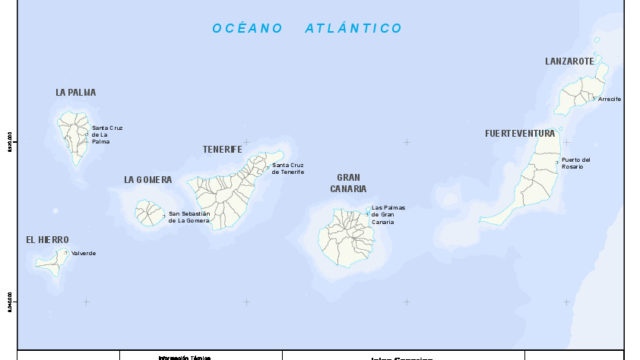 Mapa mudo de las islas Canarias con capas configurables