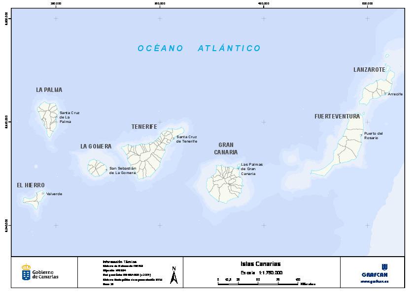 Mapa Mudo De Las Islas Canarias Con Capas Configurables Canal Del
