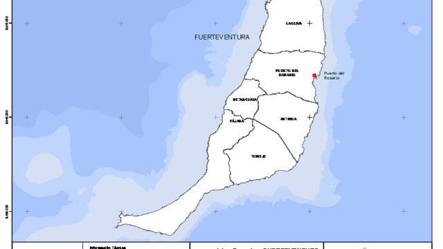 Mapa mudo de la isla de Fuerteventura con capas configurables