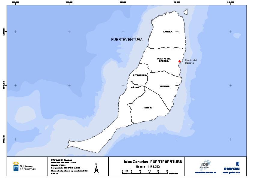 Mapa De Fuerteventura Municipios.Mapa Mudo De La Isla De Fuerteventura Con Capas