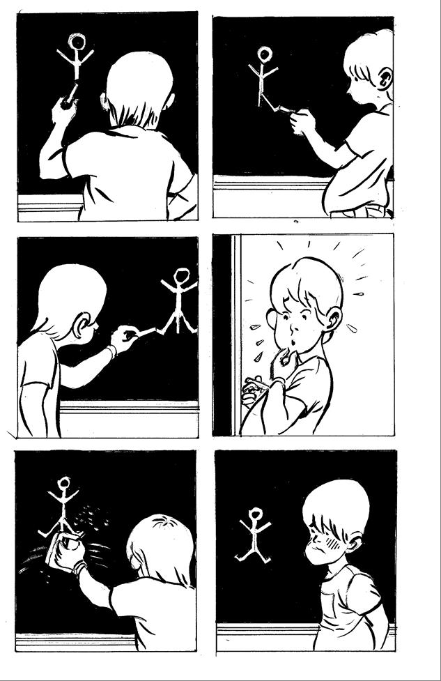 Niño dibujando un hombre