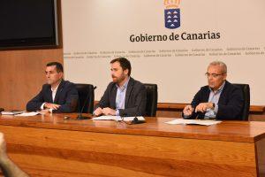 Miguel Ángel Clavijo e Isaac Castellano y Francisco Macías en rueda de prensa