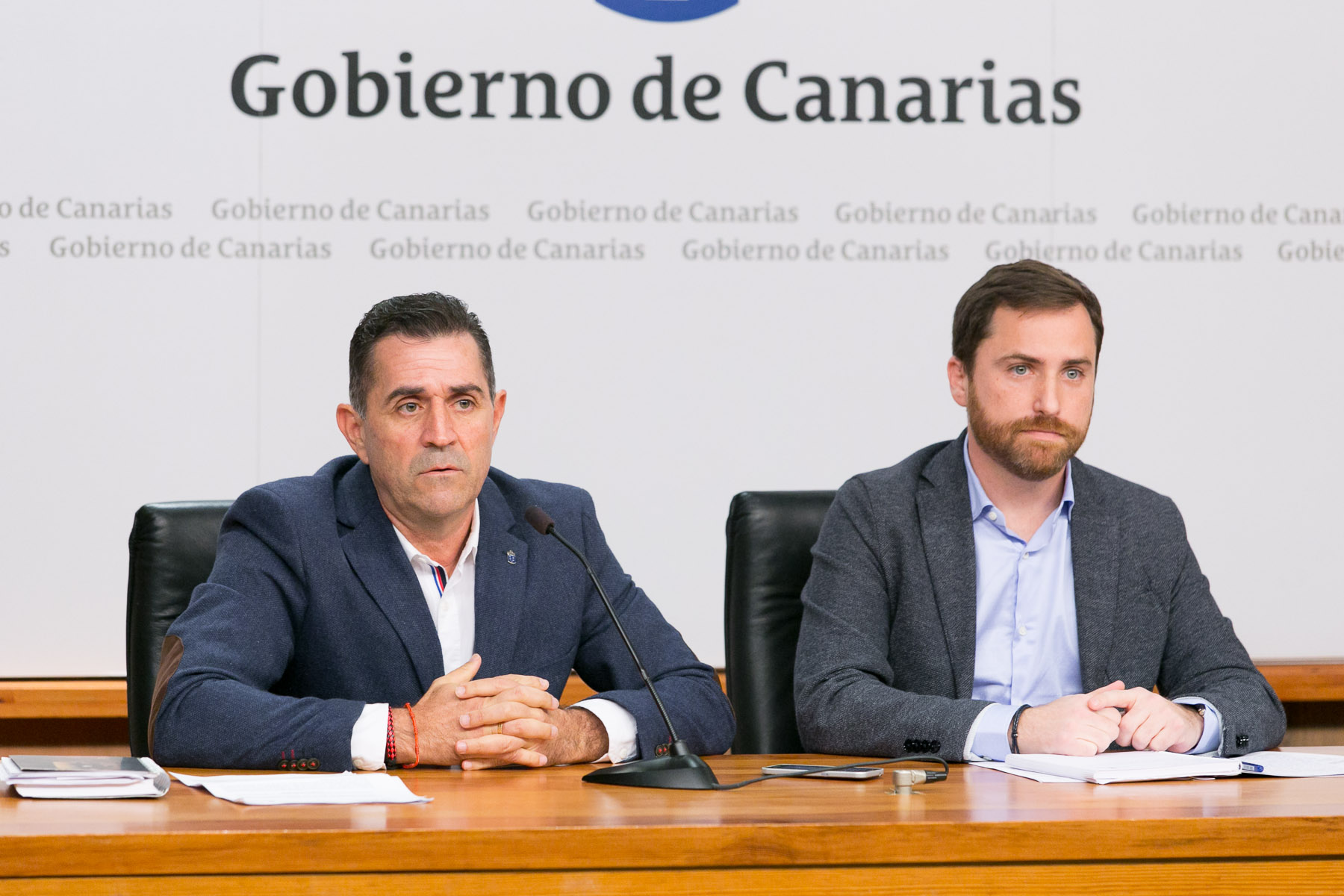 Miguel Ángel Clavijo e Isaac Castellano en rueda de prensa