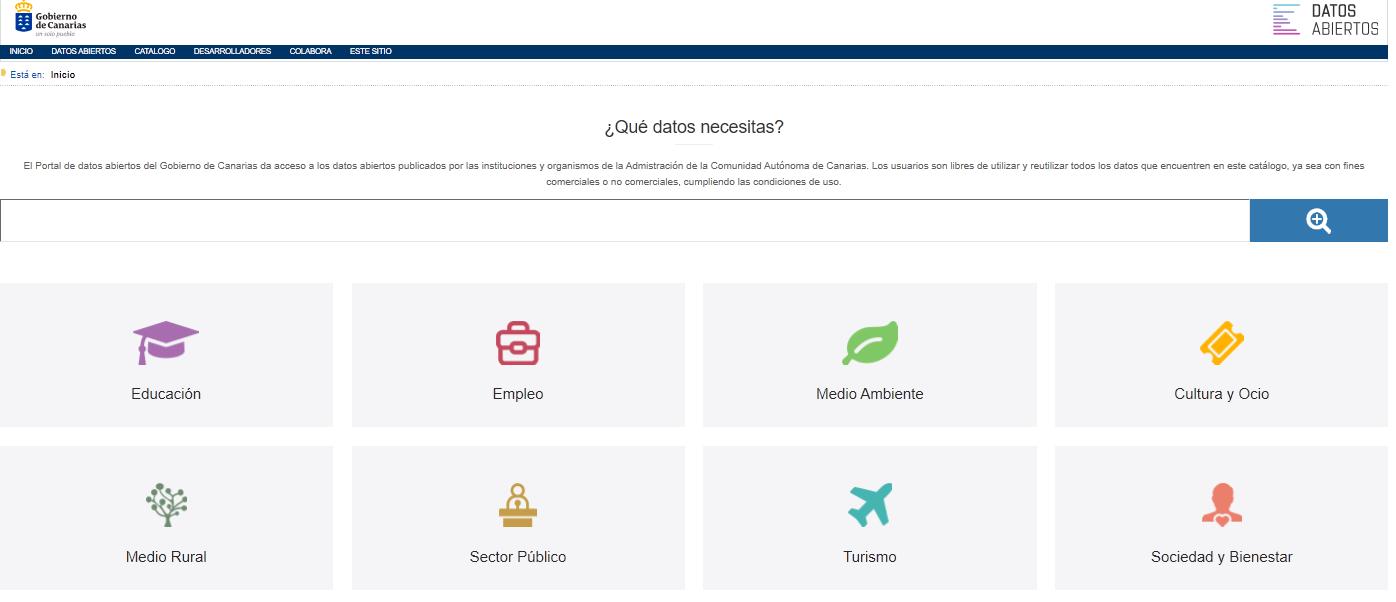 Portal Datos Abiertos Gobierno de Canarias