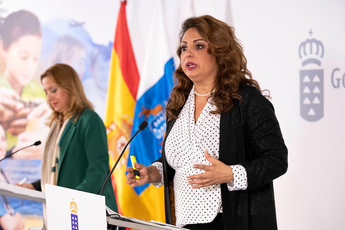 Cristina Valido, consejera de Empleo, Políticas Sociales y Vivienda, en la rueda de prensa del Consejo de Gobierno.