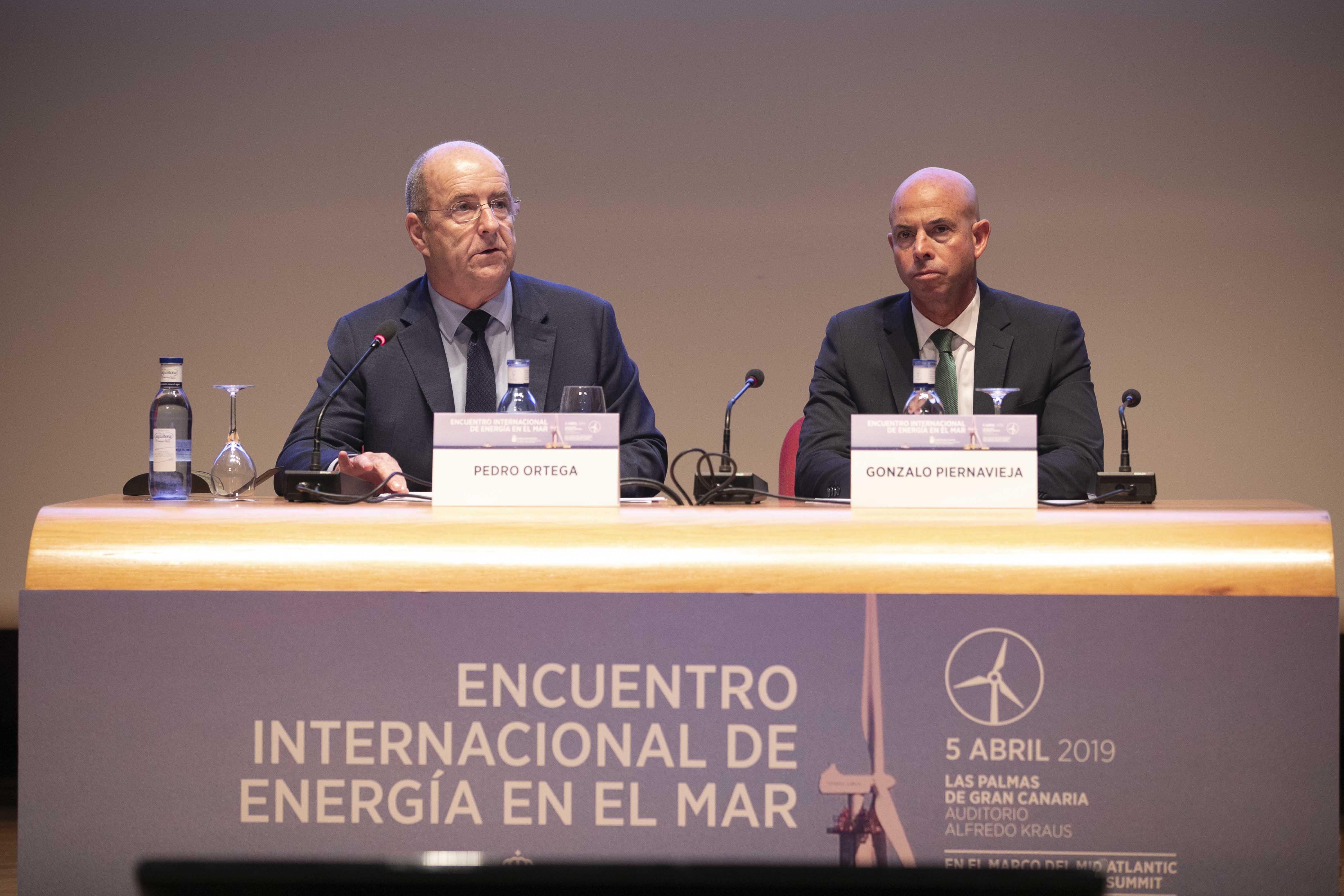 Pedro Ortega durante su intervención en el I Encuentro Internacional de Energía del Mar.